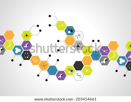 Molecules Concept of neurons and nervous system form science vector. - stock vector