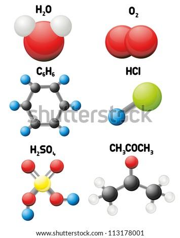 Molecules set - stock vector