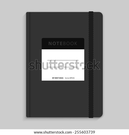 Moleskin notebook with black elastic band vector image - stock vector