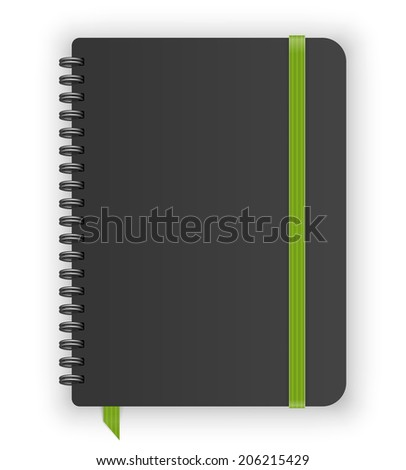 Moleskin notebook with green elastic band and spiral vector image - stock vector