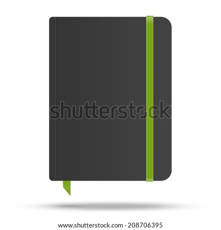 Moleskin notebook with green elastic band vector image - stock vector
