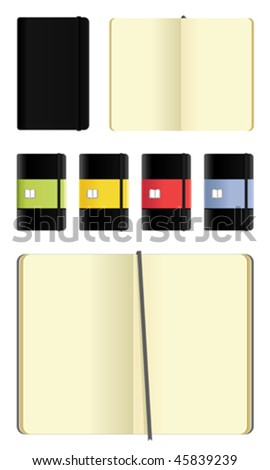 moleskine notebooks set - cutout on white - stock vector