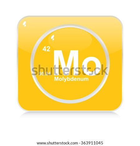 molybdenum chemical element button - stock vector