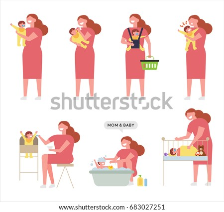 Mom and baby care vector illustration flat design
