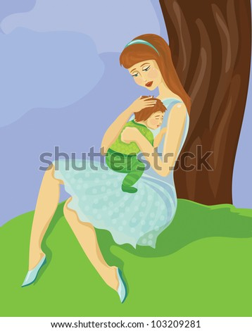Mom and baby resting in a garden. - stock vector