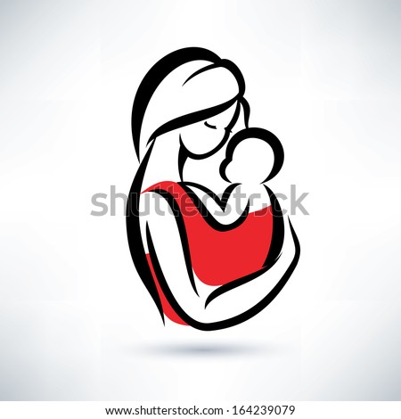 mom and baby vector symbol - stock vector