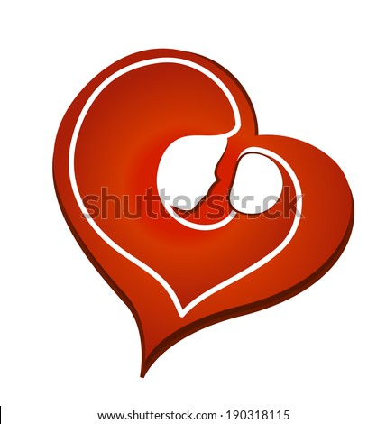 Mom and baby.Vector symbol in a heart shape - stock vector