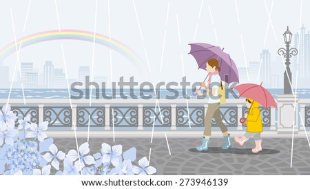 Mom and Child in Rainy day scenery-EPS10 - stock vector