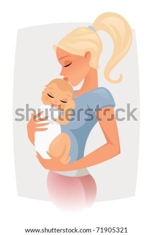 Mom hugs and kiss her baby - stock vector