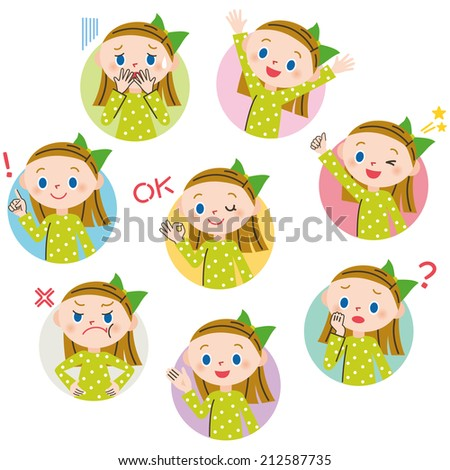 Mom pose expression - stock vector