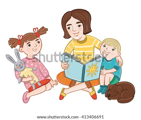 Mom reading a book to children. characters - stock vector