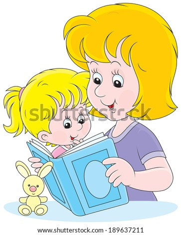 Mom reading a book to her infant daughter - stock vector