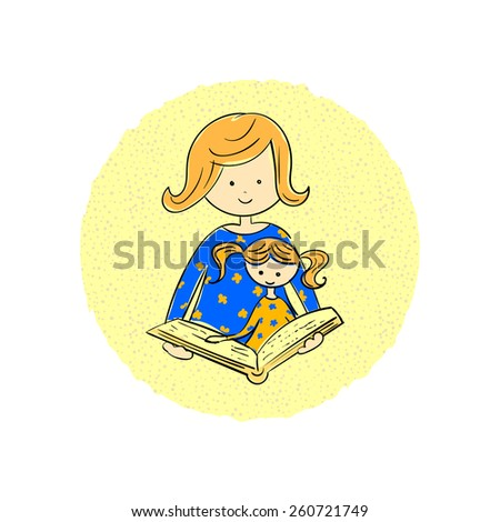 Mom reading a fairytale to daughter. Doodle illustration. - stock vector
