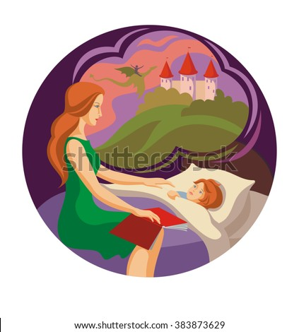 mom reads baby a story before bed - stock vector