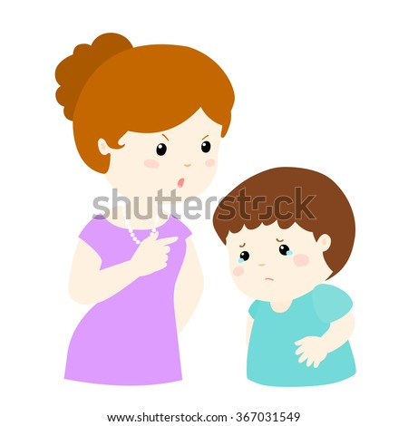 Mom scolds her son on white background cartoon vector illustration Unhappy Stick Figure