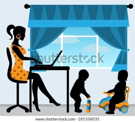 mom sitting at the computer, while the children play in the room - stock vector