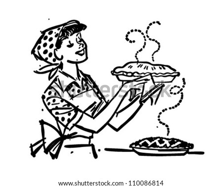Mom With Fresh Baked Pies   Retro Clipart Illustration