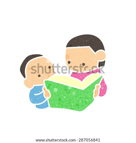 Mom with son are reading a book with beautiful texture. - stock vector