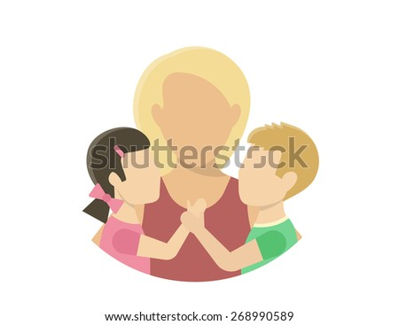 Mom with two kids. Flat illustration on white - stock vector