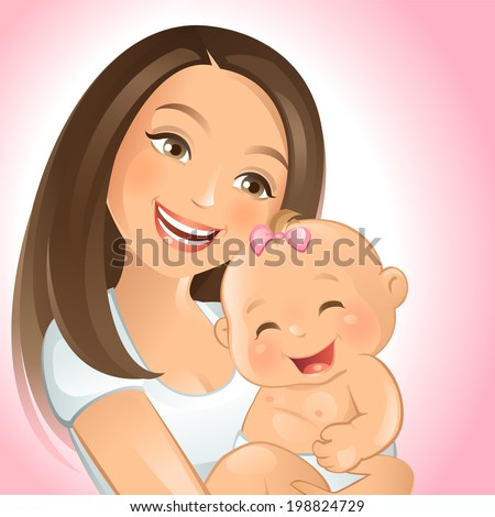 Mommy and I - stock vector