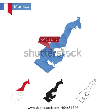 Monaco blue Low Poly map with capital, versions with flag, black and outline. Vector Illustration. - stock vector