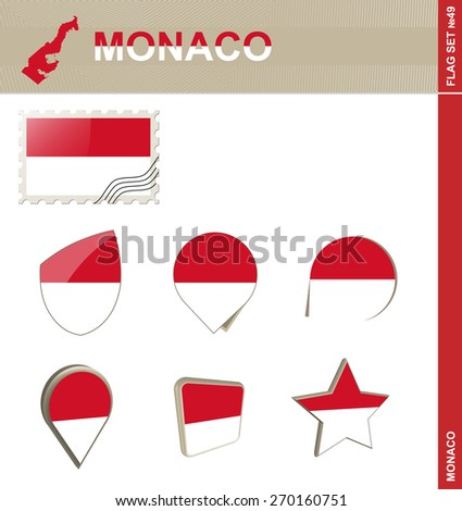 Monaco Flag Set, Flag Set #49. Vector.