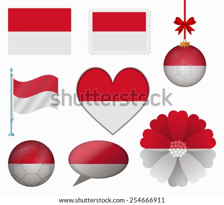 Monaco flag set of 8 items vector