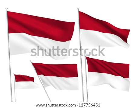 Monaco vector flags. A set of 5 wavy 3D flags created using gradient meshes - stock vector