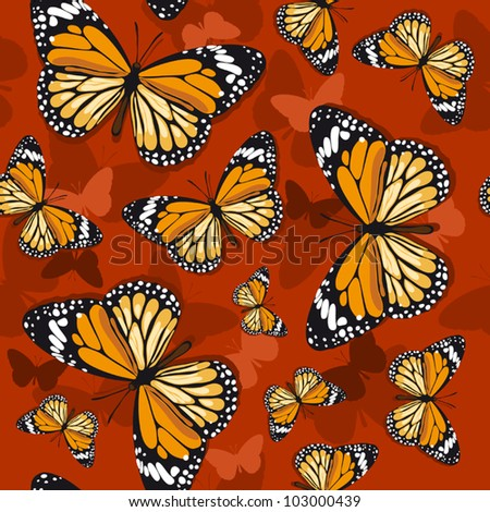 Monarch butterflies on red background - stock vector