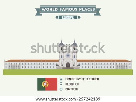 Monastery of Alcobaca, Portugal - stock vector