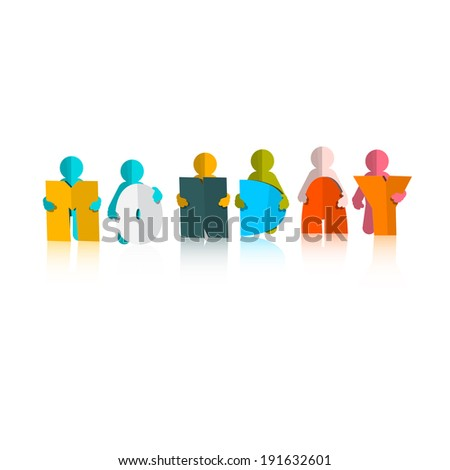 Monday Colorful Title - Paper Cut People and Letters on White Background