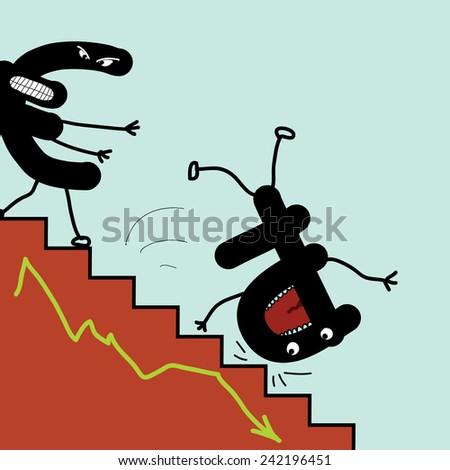 Monetary upsets. Falling down ruble. - stock vector