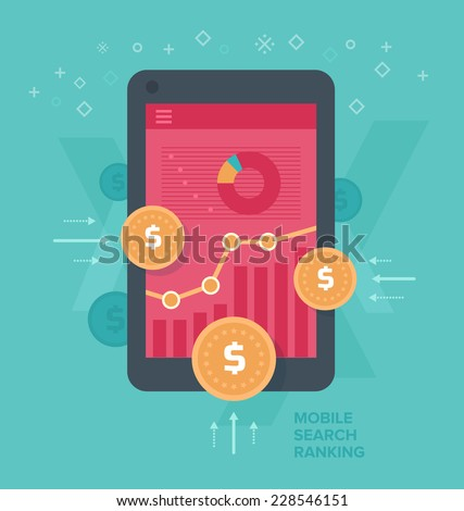 Monetizing mobile web traffic. Concept of making money, optimizing traffic that comes from mobile devices. - stock vector