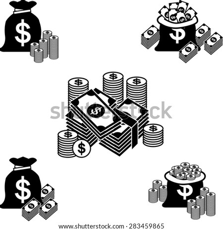 Money and coin icon set, Vector illustration - stock vector