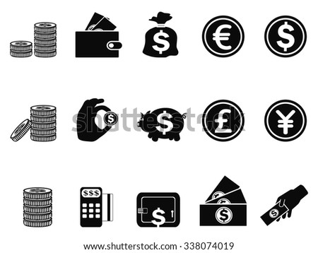 money and coin icons set - stock vector