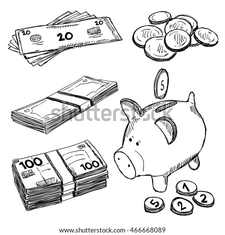 Money and coins doodles. Illustration of finance and currency. Sketch style drawing.