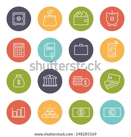 Money and Finance Line Icons Collection. Set of 16 money and finance related line icons in colored circles - stock vector