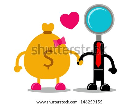 money and search engine - stock vector