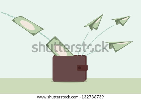 money and wallet - stock vector