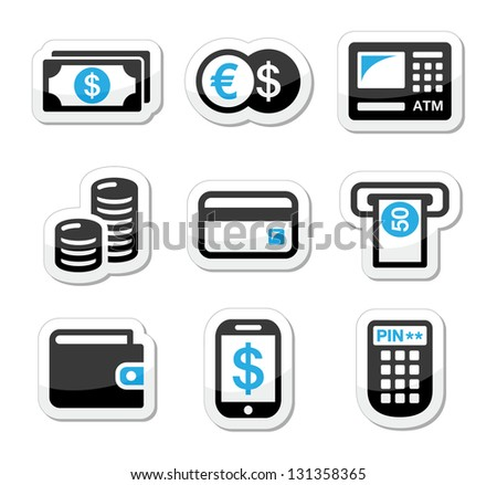 Money, atm - cash machine vector icons set - stock vector