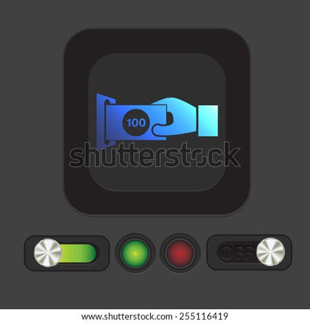 money ATM. symbol issuing or receiving money from an ATM. financial icon. money is given. - stock vector