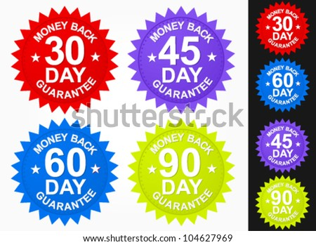 Money Back Guaranteed Badges - stock vector