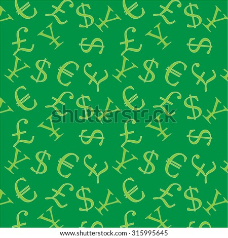 Money background dollar sign euro pound and yen. Vector illustration