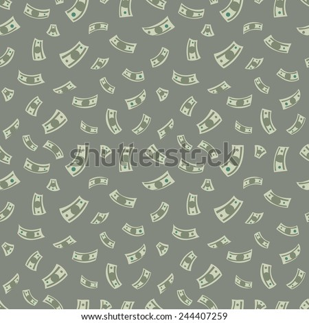 Money background. Vector seamless pattern with dollars. - stock vector