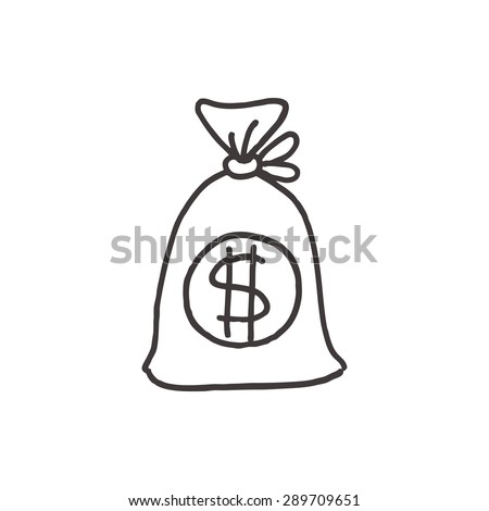 set pictogram money bags currency signs stock illustration