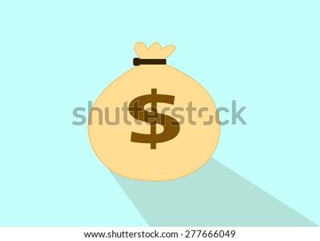 Money bag icon design with shadow, vector illustration - stock vector