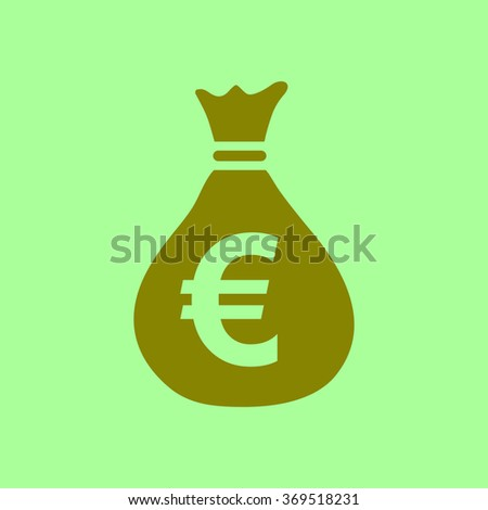 Money bag icon. Euro EUR currency symbol. Flat design style. EPS 10.