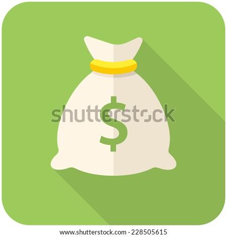 Money bag icon (flat design with long shadows) - stock vector