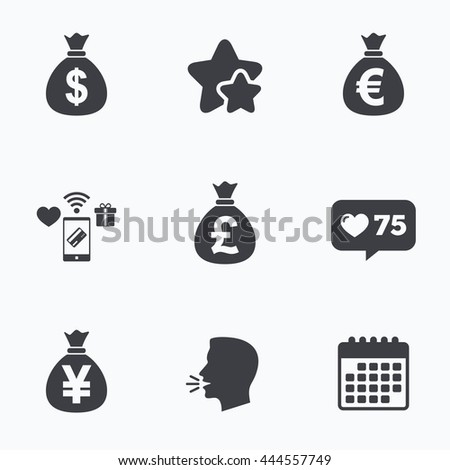Money bag icons. Dollar, Euro, Pound and Yen symbols. USD, EUR, GBP and JPY currency signs. Flat talking head, calendar icons. Stars, like counter icons. Vector - stock vector