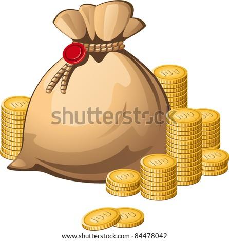 Money bag isolated over white - stock vector